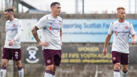 Hearts' Michael Smith, Jamie Walker and Oliver Bozanic are left disappointed