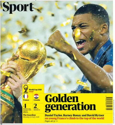 The Guardian leads with an image of Kylian Mbappe celebrating his country's World Cup win