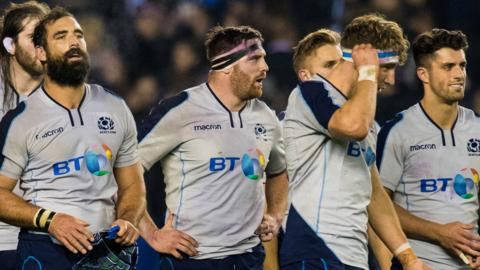 Scotland players at full-time after the loss to South Africa
