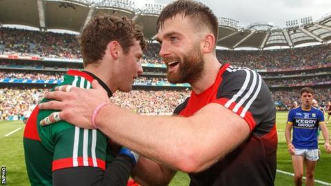 Aidan O'Shea and David Clarke celebrate after Mayo's All-Ireland semi-final replay win over Kerry in Croke Park