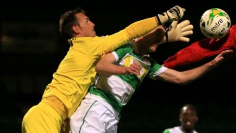 Yeovil Town goalkeeper Artur Krysiak