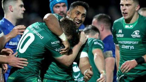 Bundee Aki celebrates Jack Carty's try