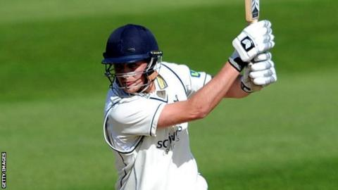 Mark Adair's dismissal for 32 was his first in first-class cricket, having been not out in both innings on his Championship debut against Somerset at Taunton last September
