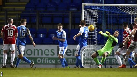St Johnstone goalkeeper Alan Mannus makes a save in the recent win against Hamilton