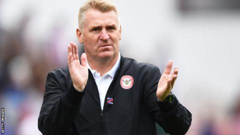 Dean Smith on the sidelines during his time at Brentford