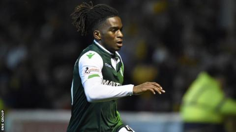 Stephane Omeonga made his Hibs debut at Fir Park but was withdrawn at half time