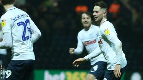 Alan Browne put Preston 1-0 up against Middlesbrough at Deepdale