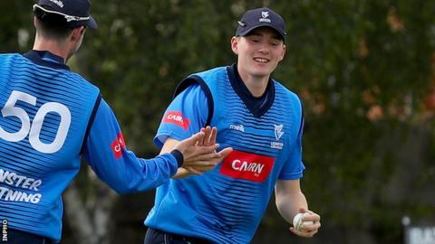 Gareth Delany celebrates taking a catch for Leinster Lightning