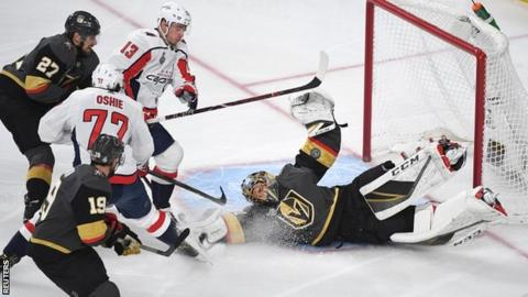 Vegas Golden Knights goaltender Marc-Andre Fleury makes a save