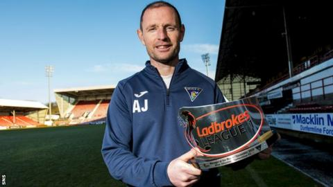 Dunfermline's Allan Johnstone with his manager of the month award