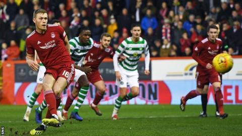 Sam Cosgrove scores for Aberdeen against Celtic