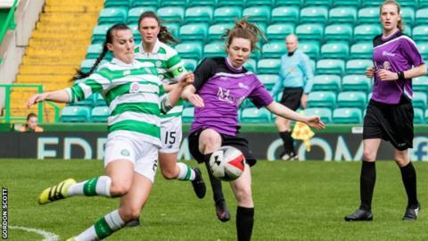 Celtic's Jaclyn Poucal and Stirling's Rachel Donaldson