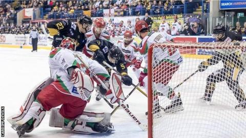 Cardiff Devils net minder Ben Bowns saved 20 of 21 shots against Nottingham Panthers