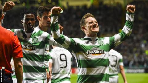 Kris Commons celebrates shooting Celtic into a 2-0 lead