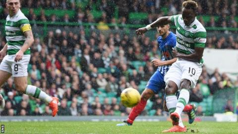 Moussa Dembele scores his second goal for Celtic against Kilmarnock