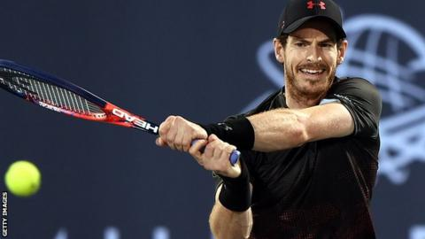 Andy Murray plays a backhand during his one-set exhibition match against Roberto Bautista Agut in Abu Dhabi