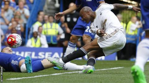 Andre Ayew scores for Swansea against Chelsea