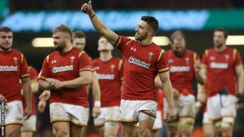 Rhys Webb celebrates Wales' win over Ireland