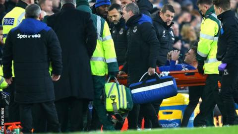James McCarthy is stretchered off the pitch at Goodison Park