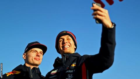 Alex Albon (right) with Red Bull drive partner Max Verstappen