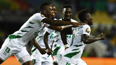 Guinea-Bissau celebrate scoring against Cameroon at the 2017 Nations Cup