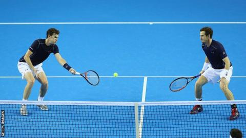 Jamie Murray and Andy Murray in action at the Davis Cup
