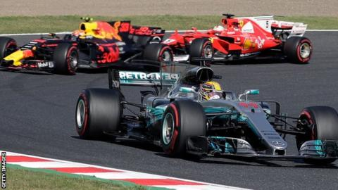 Lewis Hamilton leads Max Verstappen and Sebastian Vettel during the Japanese Grand Prix in October