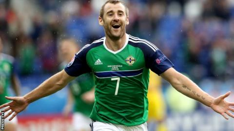 Delight for Niall McGinn after scoring for Northern Ireland against Ukraine in the Euro 2016 finals