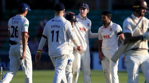 Essex celebrate a wicket