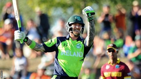 John Mooney celebrates hitting the winning runs for Ireland in their 2015 World Cup win over West Indies