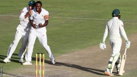 Kagiso Rabada celebrates wicket of Usman Khwaja