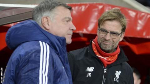 Sunderland manager Sam Allardyce (left) and Liverpool counterpart Jurgen Klopp