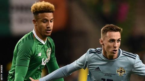 Northern Ireland The Republic of Ireland's Callum Robinson battles with Northern Ireland's Gavin Whyte in a friendly in Dublin last year