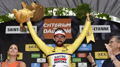 Thomas de Gendt celebrates winning stage one of 2017 Dauphine