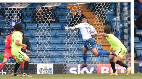 Three of James Vaughan's four goals against Peterborough United were with his right foot, but the second came off his head