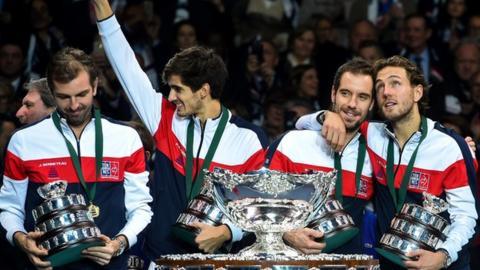 France celebrate winning 2017 Davis Cup