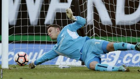 Simon Eastwood saves Aleksandar Mitrovic's penalty