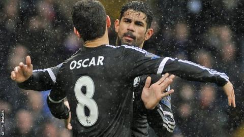 Oscar and Diego Costa embrace after a goal