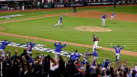 Chicago Cubs players and fans celebrate