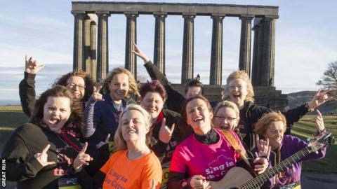 Sing in the City choir ready for the Great Edinburgh Winter Run