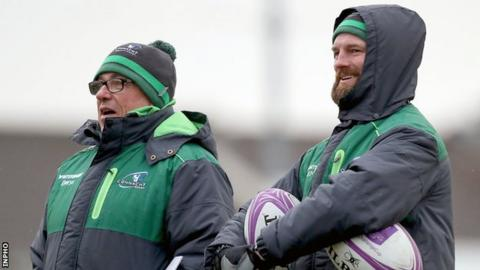 Keane (left) with backs coach Nigel Carolan, who will be among the favourites to replace him at the Sportsground