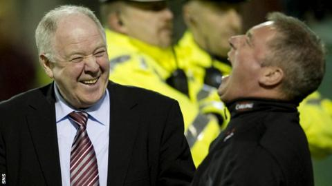Craig Brown and Ally McCoist share a joke in 2010, when Brown was Motherwell boss and McCoist an assistant at Rangers