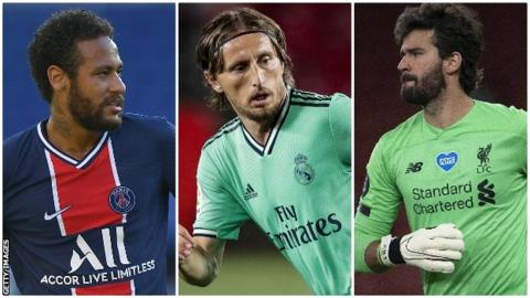 Neymar, Luka Modric and Alisson