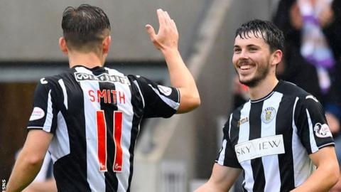 St Mirren's Cammy Smith and Lewis Morgan celebrate against Queen of the South