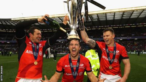 Saracens celebrate their Champions Cup title