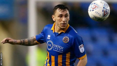 Nathan Thomas in action for Shrewsbury Town