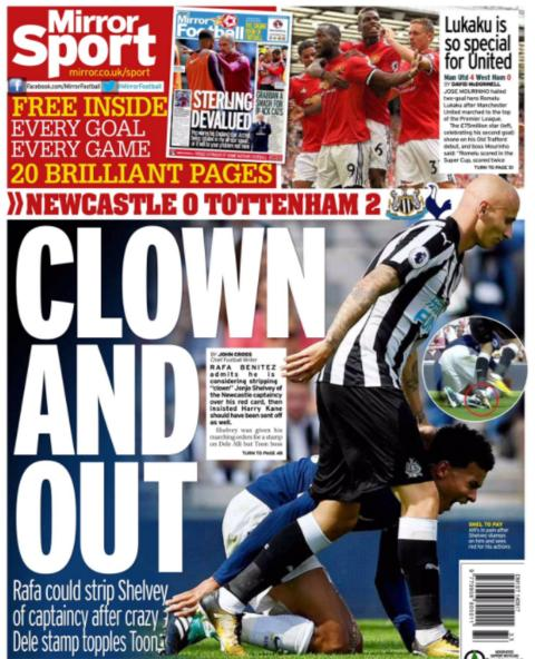The Mirror question Jonjo Shelvey's captaincy following his stamp on Dele Alli