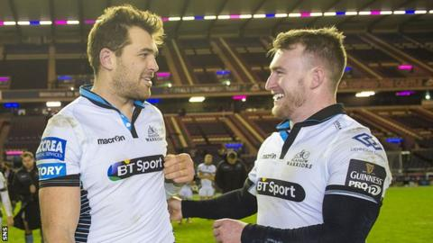 Sean Lamont shares a joke with Stuart Hogg after Glasgow's win over Edinburgh at Murrayfield on Boxing Day