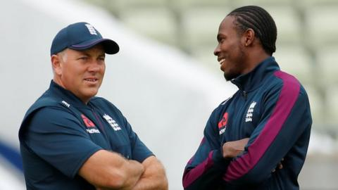 England bowling coach Chris Silverwood (left) and Jofra Archer