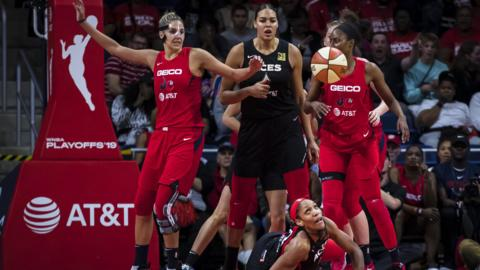WASHINGTON, DC - SEPTEMBER 19: A'ja Wilson #22 of the Las Vegas Aces looks up from the court against the Washington Mystics during the second half of Game Two of the 2019 WNBA playoffs at St Elizabeths East Entertainment & Sports Arena on September 19, 2019 in Washington, DC. NOTE TO USER: User expressly acknowledges and agrees that, by downloading and or using this photograph, User is consenting to the terms and conditions of the Getty Images License Agreement. (Photo by Scott Taetsch/Getty Images)